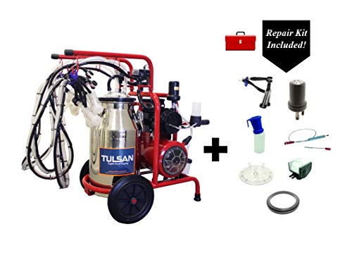 Tulsan, Classic Goat Quadruple Milking Machine, Portable Electric Milking System Four Cup Sets Includes a Repair kit Box with a 250 DLS Value!