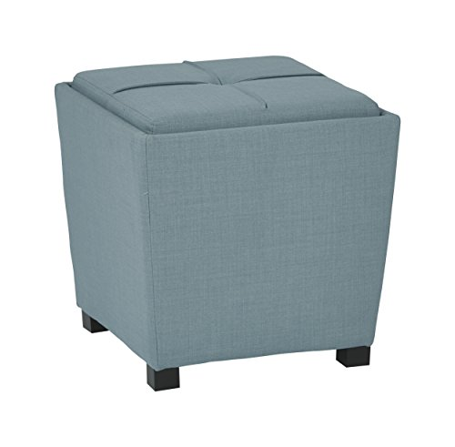 Office Star Metro Fabric 2-Piece Storage Ottoman Nesting Cube Set with Dark Espresso Finished Feet, Milford - Star Storage Products Metro