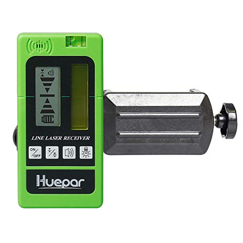Line Receiver - Huepar LR-5RG Laser Detector for Laser Level - Green and Red Beam Receiver for Use with Pulsing Line Lasers, Two-Sided Back-lit LCD Displays, Automatic Shut-Off Timer, Clamp Included