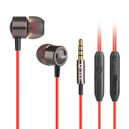 Earphones,Q-YEE In-Ear Heaphones with Mic and volume control-Red&Black