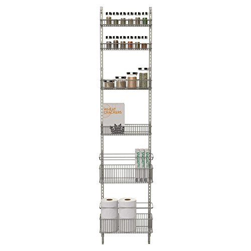 Premium Over-the-Door Steel Frame Kitchen, Pantry, and Bath/Room Organizer in Satin Nickel, Adjustable Shelf System Made of Solid Steel, Hung or Door Mounted Option by . ORG