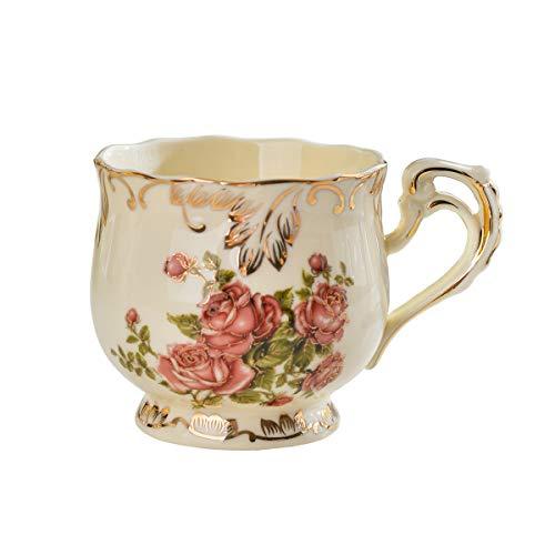 (YOLIFE Graceful Rose Pattern Tea Cup Coffee Mug 8 oz)