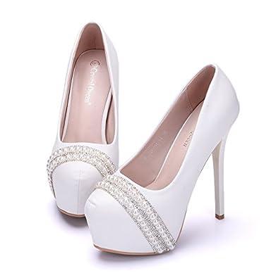HYP Wedding Brautschuhe Damen Pumps/Damen Geschlossene Zehen Hochzeitsschuhe/Tanzschuhe Damen Brautschuhe/Satin...