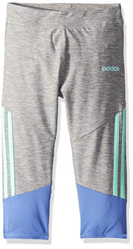 adidas Girls' Big Capri Legging, Stripe Grey/MEDPUR M (10/12)