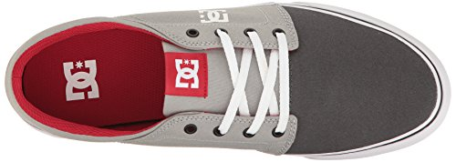 DC Men's Trase Tx Skateboarding Shoe, Grey/Grey/Red, 8.5 D US