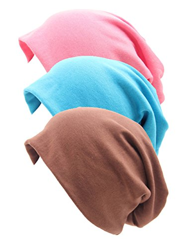 RRiody 3 Pack Unisex Indoors Cotton Stretch Beanie Hat- Soft Sleep Cap for Hairloss, Cancer, Chemo (3 Colors-4)