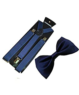 WHOLESOME DEAL men's navy blue suspender with neck bow tie(combo)(lawrq004) (Navy Blue)
