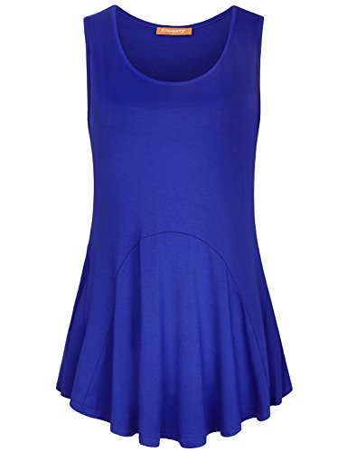 Pleat Detail Sleeveless Shirt - Kimmery Tunic Tank Tops for Women, Juniors Petite Slouchy Sleeveless Curved Hem Leggings Tanks Solid Color O Neck Pleated Front Ruffle Shirts Details Wonderful Beautiful Outstanding Blouses Blue M