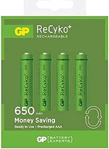 GP EkoPower - Pilas recargables para teléfonos inalámbricos (AAA, Ni-Mh 650 mAh, 4 unidades): Amazon.es: Electrónica