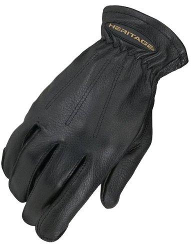 Heritage Trail Glove, Black, Size 7 (Black Deerskin Leather)