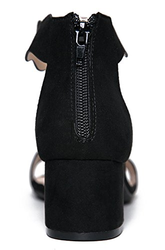 ef5e5fddb83 J. Adams Suede Open Toe Ankle Strap Sandal - Trendy Kitten Heel Shoe - Low