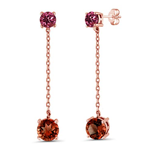 (Gem Stone King 4.04 Ct Round Red Garnet Pink Tourmaline 18K Rose Gold Plated Silver Earrings)