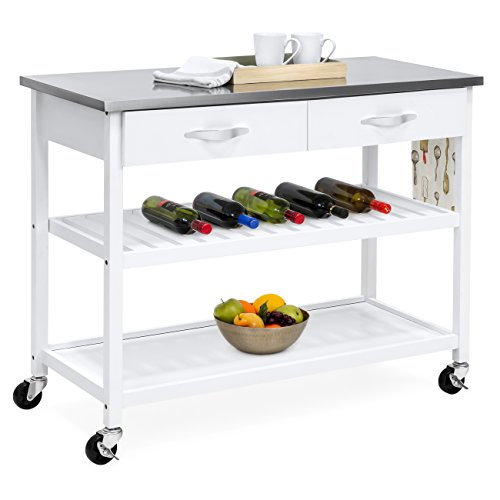 Best Choice Products Mobile Kitchen Island Utility Cart w Stainless Steel Countertop, Drawers & Shelves for Storage