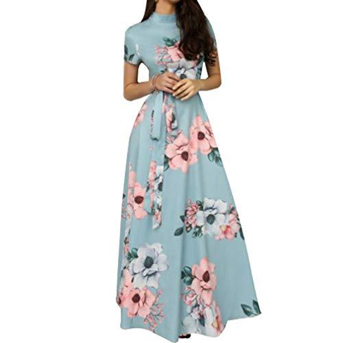 de de Fit Redondo Larga S Retro B Vestido Slim Print Cinturón Vestido 6XL Playa Falda Mujeres de Azul Cuello Vestido Floral 0F1w0qE