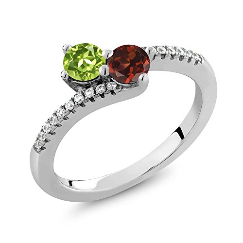 Gem Stone King Green Peridot and Red Garnet 2 Stone 925 Sterling Silver Women's Bypass Ring (0.91 Ct Round Available in size 5, 6, 7, 8, 9)