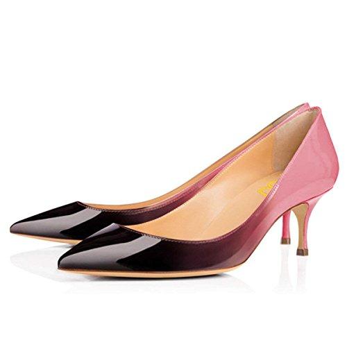Us Office Pumps Fsj Dress Pink Shoes 4 black Size Ladies Heels Classic Pointy Toe Women Kitten 15 0UH0x6A
