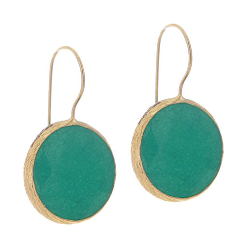 Bronze & Spring Green Agate Circle Round Button Drop (Agate Gold Earrings)