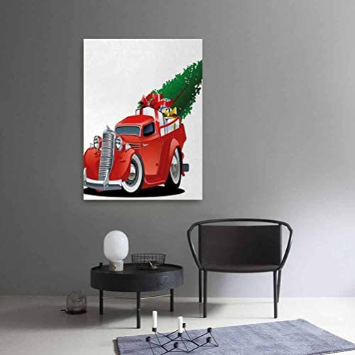 crabee Christmas Room Decor Vintage American TruckLarge Xmas Tree and Gift Boxes Pickup Retro Vehicle 16x24 Pattern Abstract Art