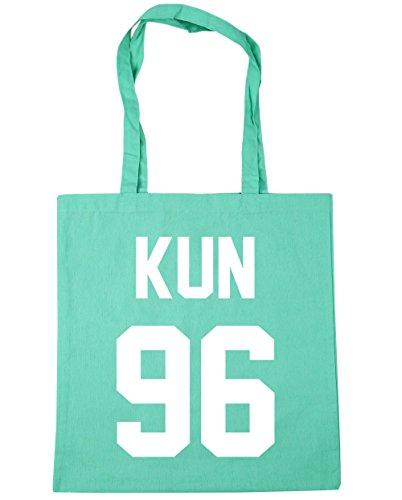 HippoWarehouse kun 96(impreso en el) bolsa de la compra bolsa de playa negro 42cm x38cm, 10litros verde menta