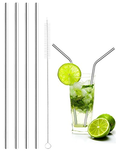 Stainless Steel Drinking Straws with Free Cleansing Brush, Multiple Using, Food-grade Safe, Durable, Energy Saving and Environmental (Set of 4 (Straight))