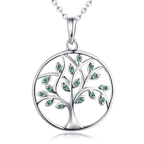 Tree Necklace (♥Valentine's Day Gifts-Tree of Life Pendant Necklace-YL Sterling Silver Created Emerald Green Tree Necklace)