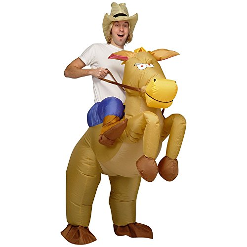 [Inflatable Rider Costume Fancy Dress Funny Horse Cowboy Funny Suit Mount For Kids Adult] (Up Fancy Dress Costumes)