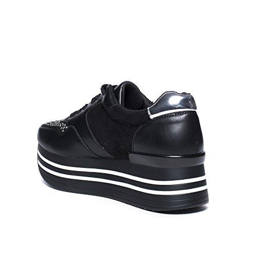 Ideal Shoes Baskets bi-Matière à Plateforme Adrienne Noir bBriRAh
