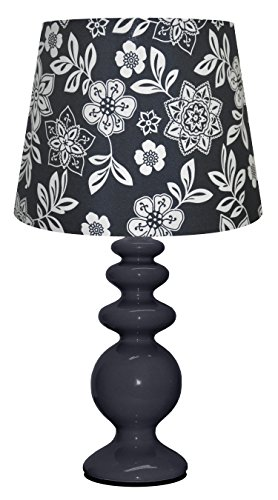 Urban Shop Porcelain Lamp with Floral Lamp Shade with CFL Bulb, Navy