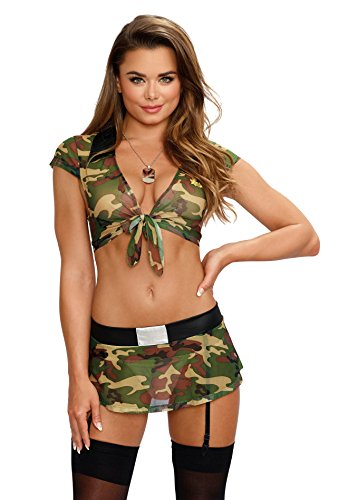 Dreamgirl Women's Green Camo Army-Themed Booty Camp Bedroom Costume Set