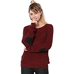 Allegra K Women's Drop Shoulder Elbow Cat Patch Loose Sweater S Red
