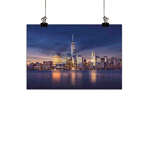 (duommhome Cityscape Light Luxury American Oil paintingNew York City Manhattan After Sunset View Picture with Skyline Reflection on River Home and everythingNavy Gold 24