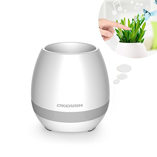 Okearin F1 Bluetooth Speakers Night Light Breathing Light Music Flower Pots Smart Plant Pots Play Music by Touching Plants Rechargeable Indoor Outdoor Office Home Decor Festivel Gift