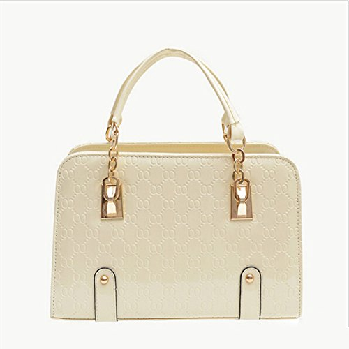 New Fashion Womens PU Leather Padlock Tote Handbag Shoulder Bag (Beige)