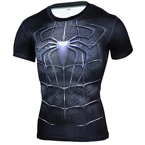 Dri Fit Short Sleeve Compression Gym Tee Black Spiderman Shirt M]()