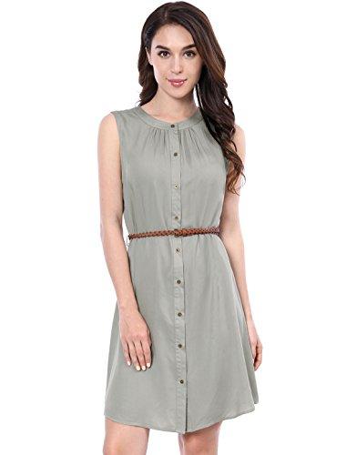 Allegra K Women's Sleeveless Button Down Above Knee Belted Dress M (Sleeveless Belted Shirt Dress)
