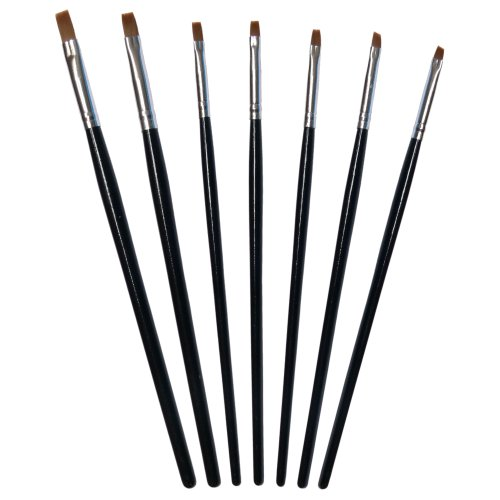 Nailfun 7Pinceaux Noir Nail Art en pot
