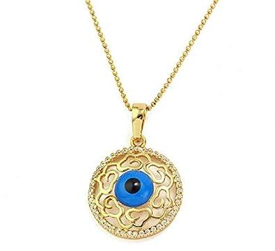 beaucoup à la mode classcic véritable LORELYS ♥ Femme Collier Pendentif L'œil Bleu Protecteur Serti De Zircons  Plaqué Or Chaîne Offerte