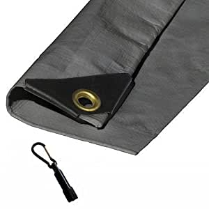 Heavy Duty Waterproof Silver Tarp with Reinforced Corners Bundled with Carabiner Flashlight (26X40)