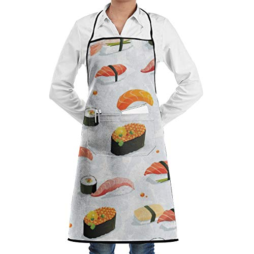 (NRIEG Sushi Wallpaper Clipart Faction Unisex Kitchen Cooking Garden Apron£¬Convenient Adjustable Sewing Pocket Waterproof Chef Aprons)