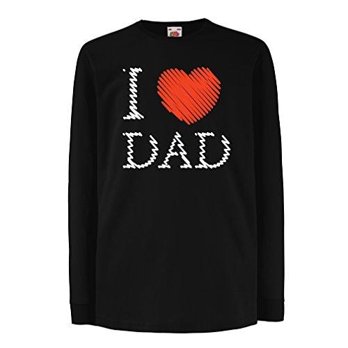 Camisetas de Manga Larga para Niño Amo a mi papá - Regalo del día de Padres (7-8 Years Negro Multicolor)