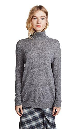Equipment Women's Oscar Turtleneck Cashmere Sweater, Heather Grey, Medium