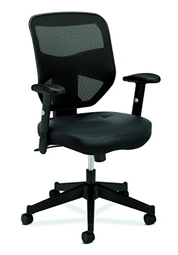 basyx by HON Leather Task Chair - High Back Mesh Work Chair with Adjustable Arms, Black (HVL531)