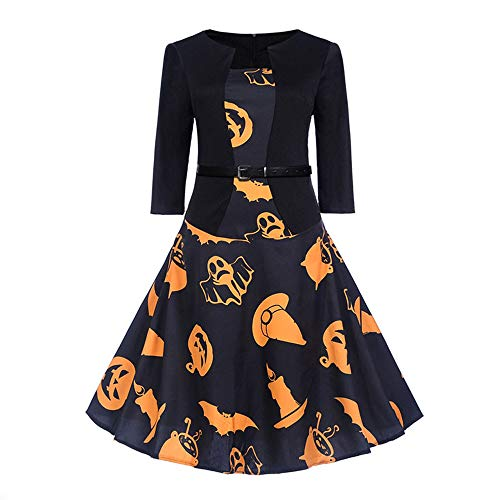 HZY Women Halloween 3/4 Sleeve Scary Bat Pumpkin