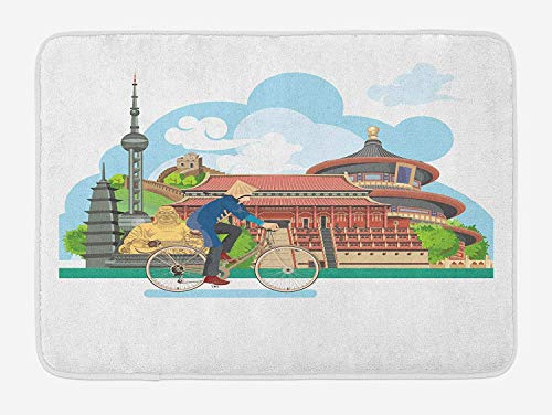 Ancient China Bath Mat, Chinese Elements Traditional Architecture and Costumes Behind a Cycling Man, Plush Bathroom Decor Mat with Non Slip Backing, 23.6 W X 15.7 W Inches, -
