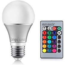 Elrigs A19 Color Changing LED Bulb E26 Base RGB + 5W (40W Equivalent) Cool White (6000K), 230° Beam Angle, Remote Controller Included