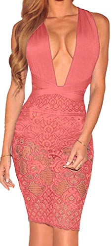Silk Cocktail Evening Dress - Women Elegant Lace Dress Sexy V Neck Sleeveless Bandage Strape Cocktail Evening Pool Party Bodysuit Mini Pencil Rompers Suit