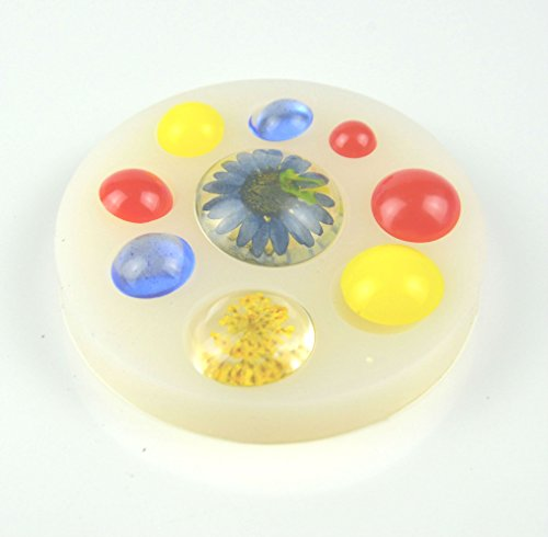 Semi transparent Clear Round dome or Semi sphere or Circle dome or Round Cabochon MOLD #HB001 - Circles Casting Mold