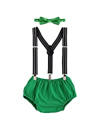 FYMNSI Baby Boys 1st/2nd Birthday Cake Smash 3pcs Outfits Bloomers+Suspenders+Bowtie