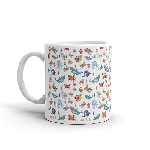 A Beautiful Collection Of Cute Fish Isolated On White Background Seamless Whale Favorite Drink Mug Ceramic 11oz Cups
