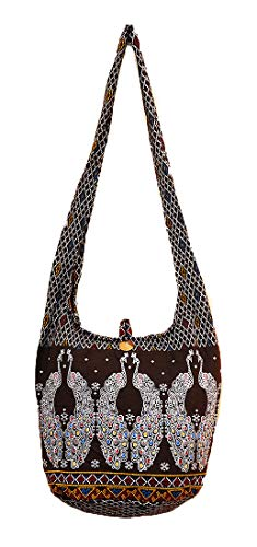 Bag M1713 Shoulder Black Hobo Boho Peacock Messenger Handmade Gypsy Sling Cotton Purse Thai Medium Zip Pattern Hippie Crossbody aXgFFq